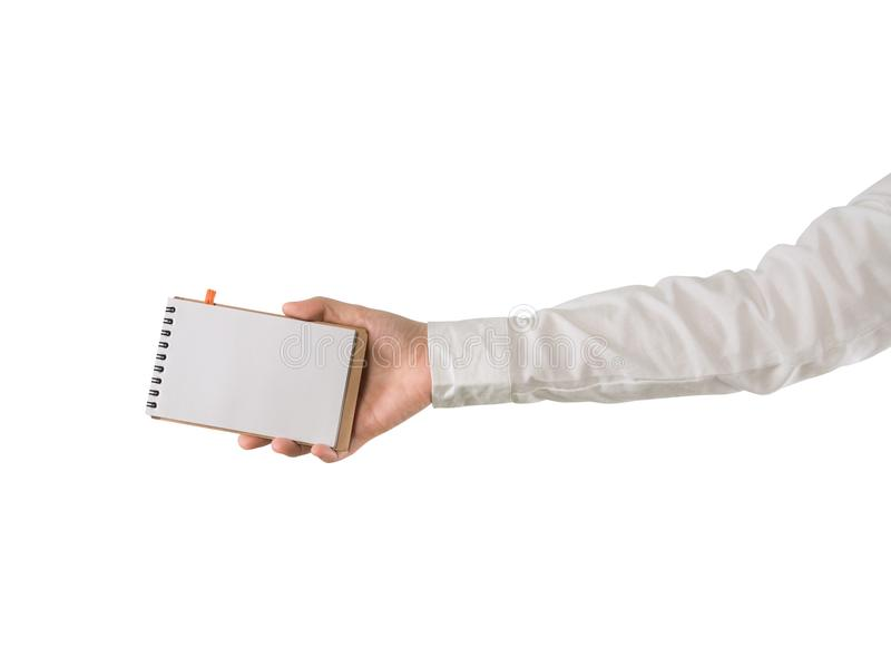 Human hand hold blank screen on notebook paper on isolated white background. stock photo