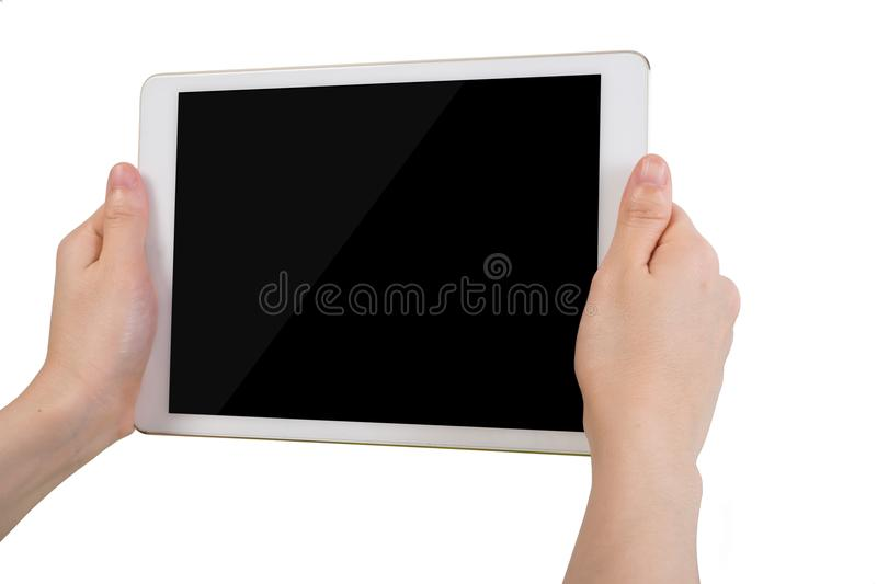 Human hand hold free blank screen tablet on isolated white background. Human hand hold free blank screen tablet, mobile phone, smartphone on isolated white stock photography