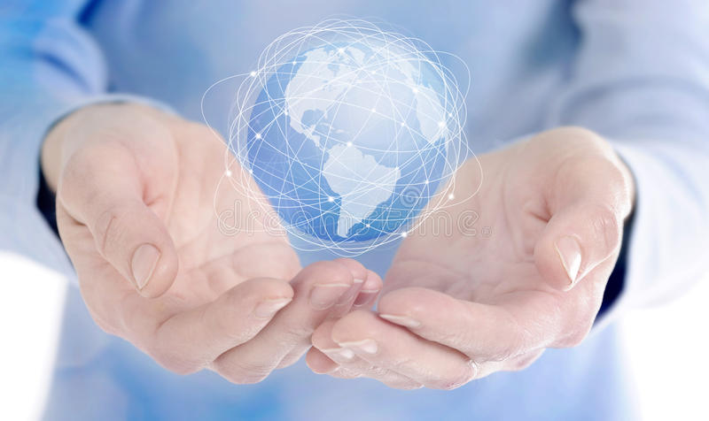 Human hand holding digital icon of planet earth. Save the world and business concept royalty free stock images