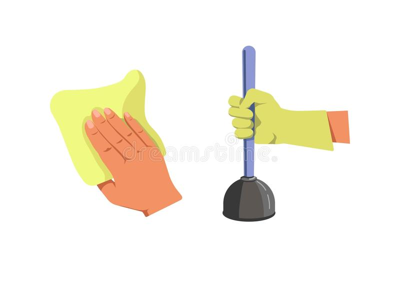 Human hand holding duster for cleaning and plunger isolated royalty free illustration