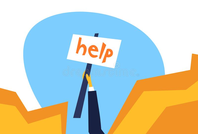 Human hand holding help placard mountain cliff abyss business salvation crisis hard working emergency concept flat. Horizontal vector illustration royalty free illustration