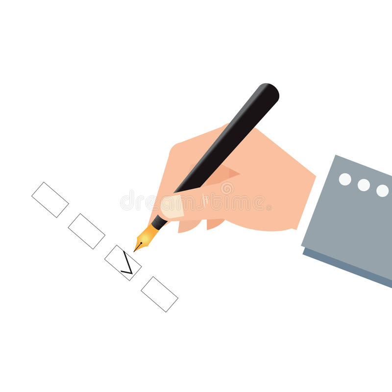 Human hand holding an ink pen and check boxes. royalty free illustration