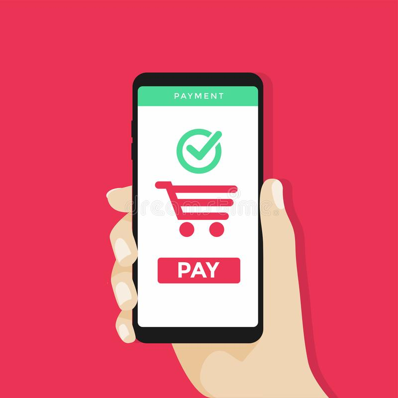 Free Human Hand Holding Mobile Phone With Shopping Cart And Pay Button On The Screen. Royalty Free Stock Photography - 113405717