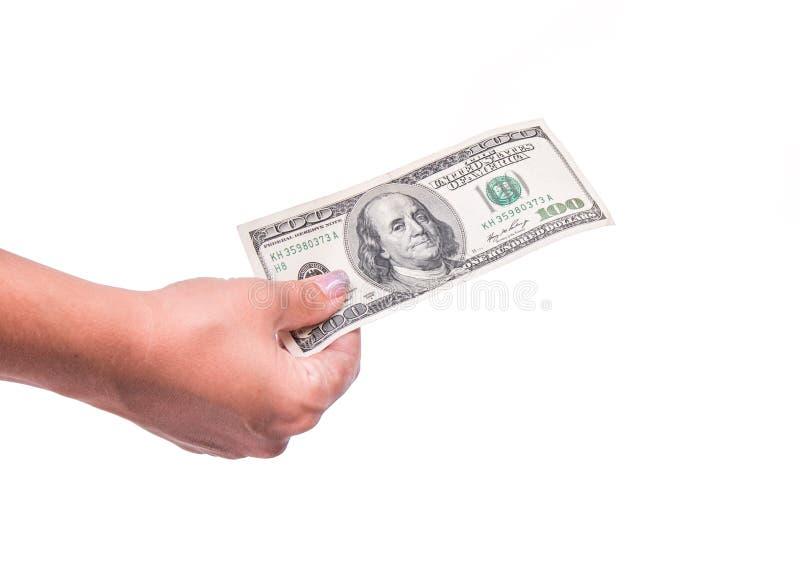 Human hand holding money, sharing 100 dollar banknote. Isolated on white background. stock photo