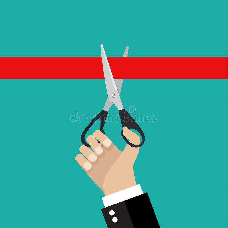 Human hand holding a pair of scissors stock illustration