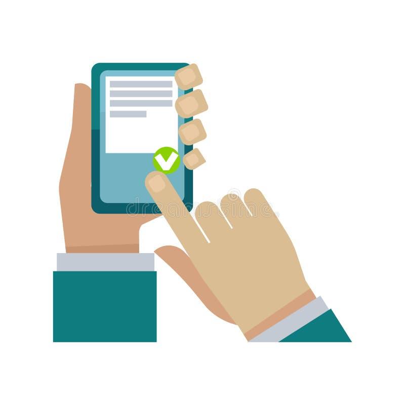 Human hand holding phone and choosing something on white stock illustration