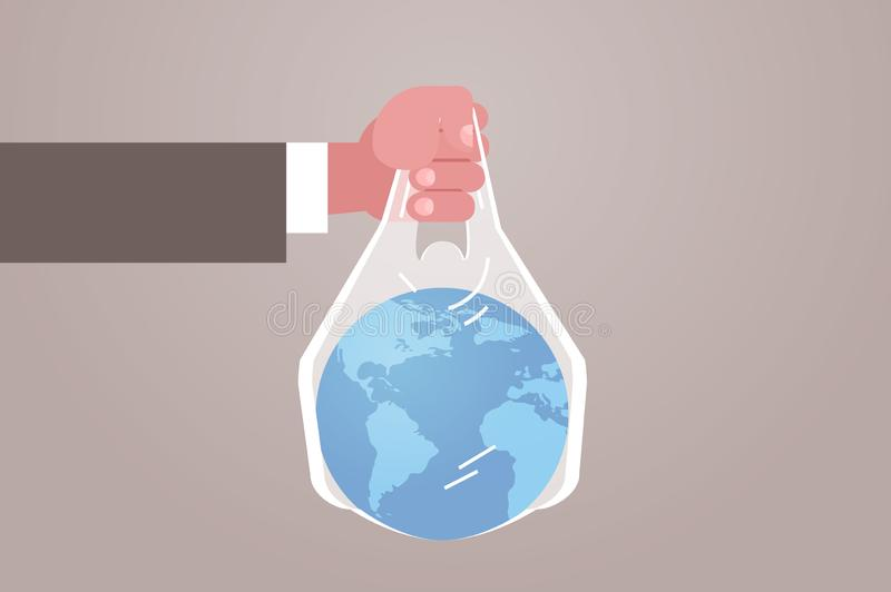Human hand holding planet in bag say no plastic pollution recycling ecology problem save the earth concept flat stock illustration