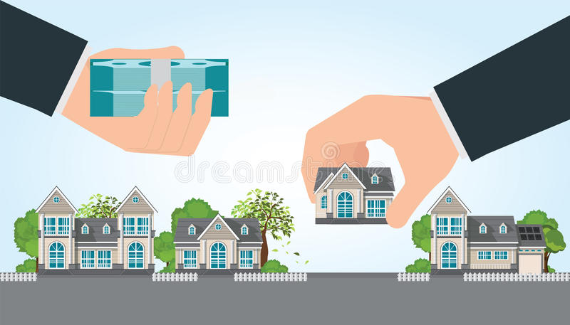 Human hand holding right house and money. royalty free illustration