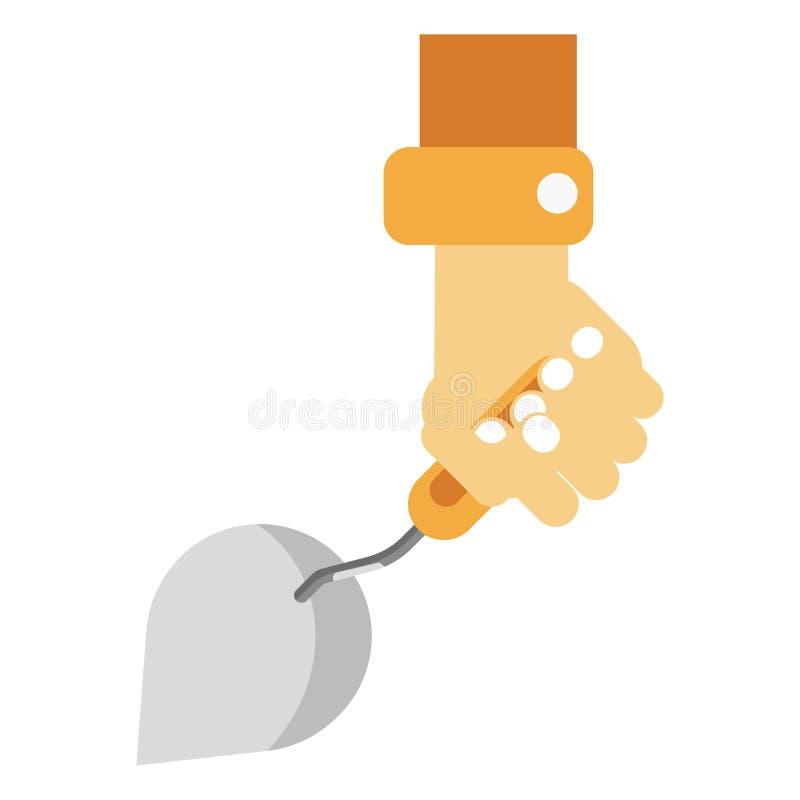 Human hand holding sharp construction spatula on white stock illustration