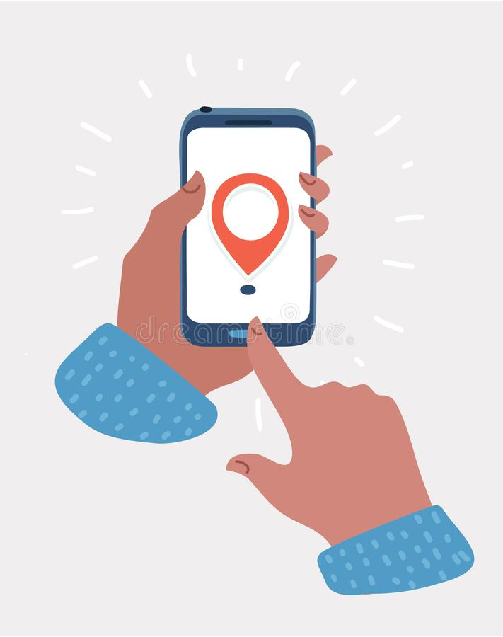 Geolocation logo on the smartphone screen in hand stock illustration