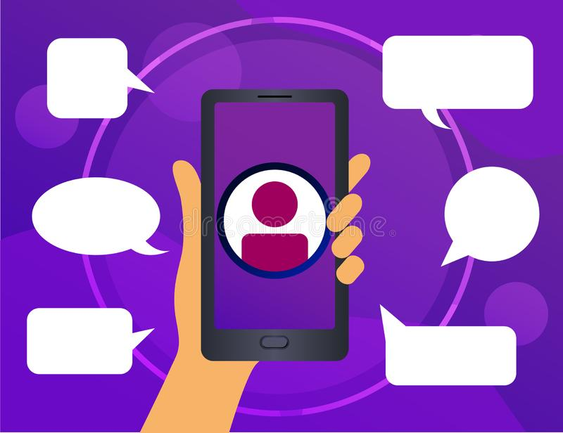 Human hand holding smartphone with icon people. Surrounded by comments. royalty free illustration
