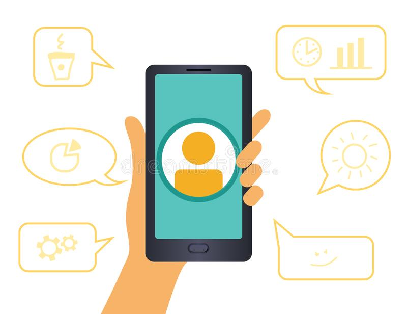 Human hand holding smartphone with icon people. surrounded by a dialogue vector illustration