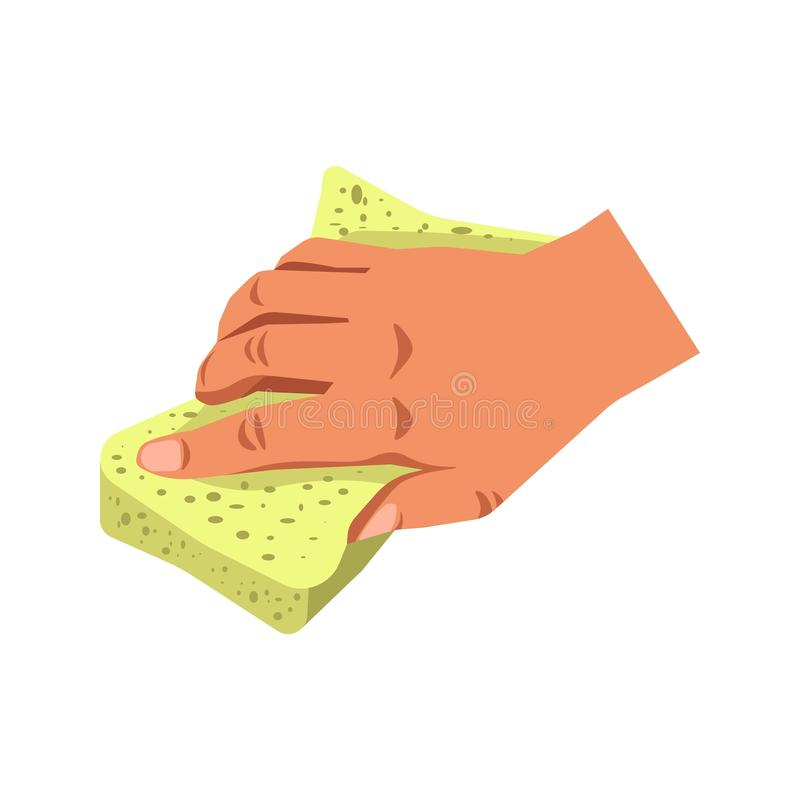 Human hand holding sponge tool isolated on white. Cleaning aid vector illustration