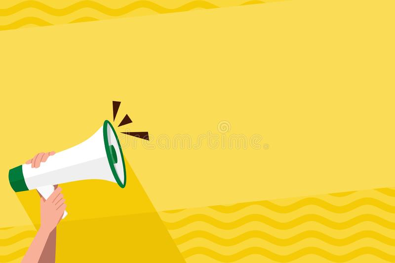Human Hand Holding Tightly the Megaphone with Volume Icon. Blank Word Space for Announcement and Promotions. Loudhailer. Human Hand Holding Tightly a Megaphone royalty free illustration
