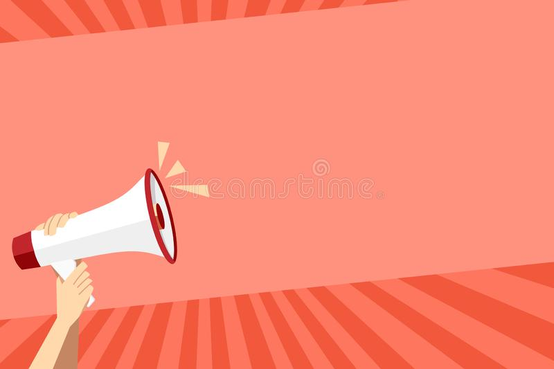 Human Hand Holding Tightly the Megaphone with Volume Icon. Blank Word Space for Announcement and Promotions. Loudhailer. Human Hand Holding Tightly a Megaphone vector illustration