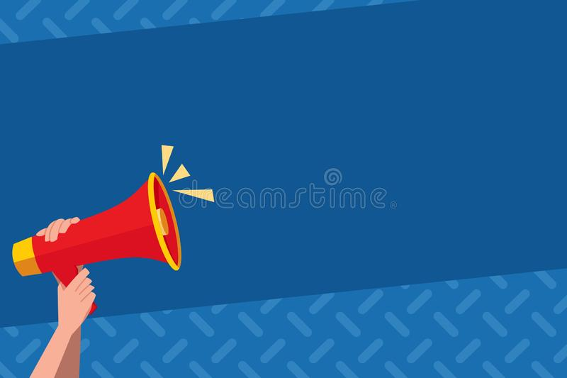 Human Hand Holding Tightly the Megaphone with Volume Icon. Blank Word Space for Announcement and Promotions. Loudhailer. Human Hand Holding Tightly a Megaphone stock illustration