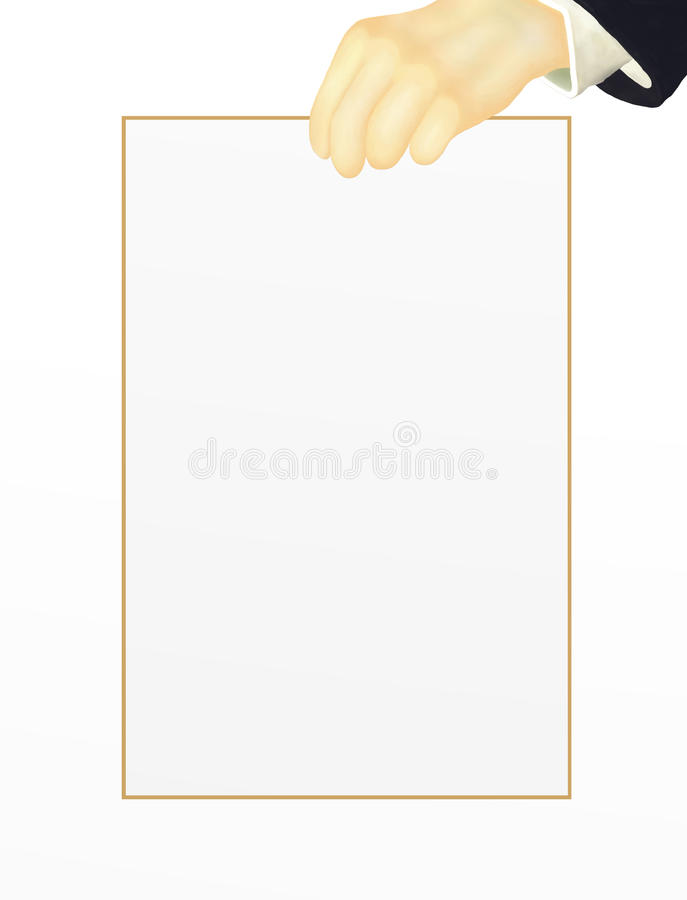 Download Human Hand Holding On The Top Side Of Blank Paper, Stock Illustration - Illustration of copy, document: 26847372