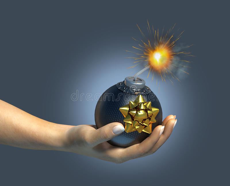 Download Human Hand Holding A Typical Bomb/gift. Stock Illustration - Illustration: 22519589