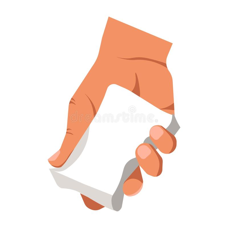 Human hand holding white duster for cleaning or piece of soap isolated stock illustration