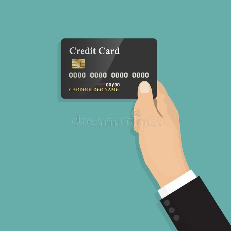 Free Human Hand Holding With Credit Card In A Flat Design ,isolate On Blue Background ,vector Design Element Illustration Royalty Free Stock Photography - 100579497