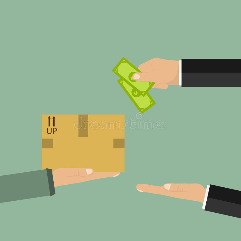 Human hand holds money and pay for the package royalty free illustration