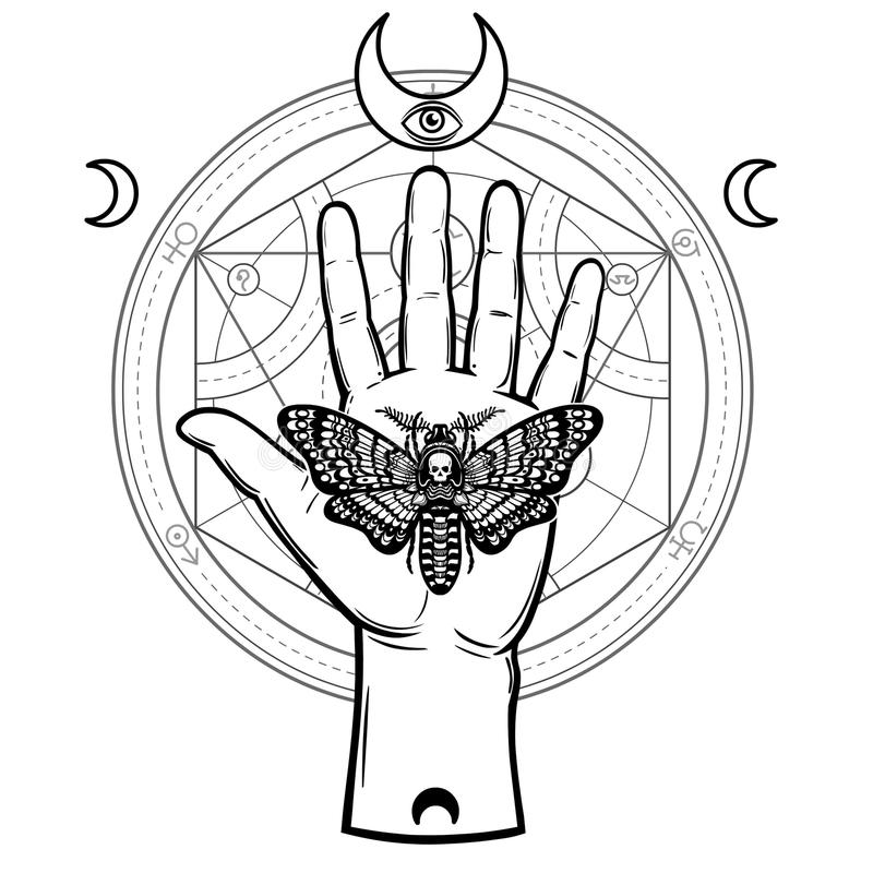 Human hand holds a moth Dead Head. Symbols of the moon, alchemical circle of transformations. royalty free illustration