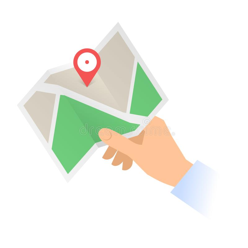 A human hand holds a navigation map with marker pin. royalty free illustration