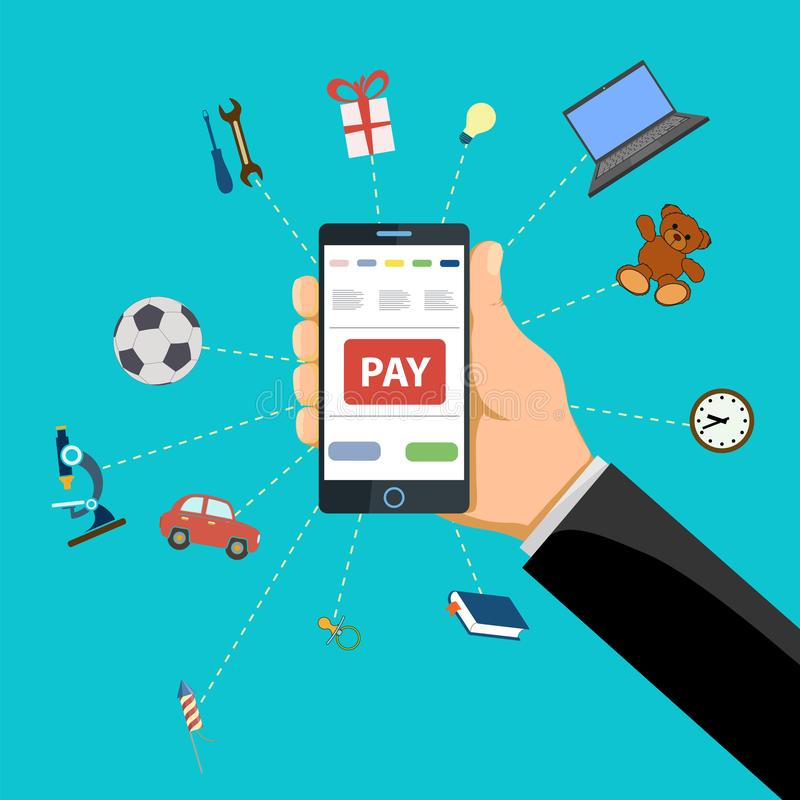 Human hand holds smart phone with pay button on the screen. stock illustration