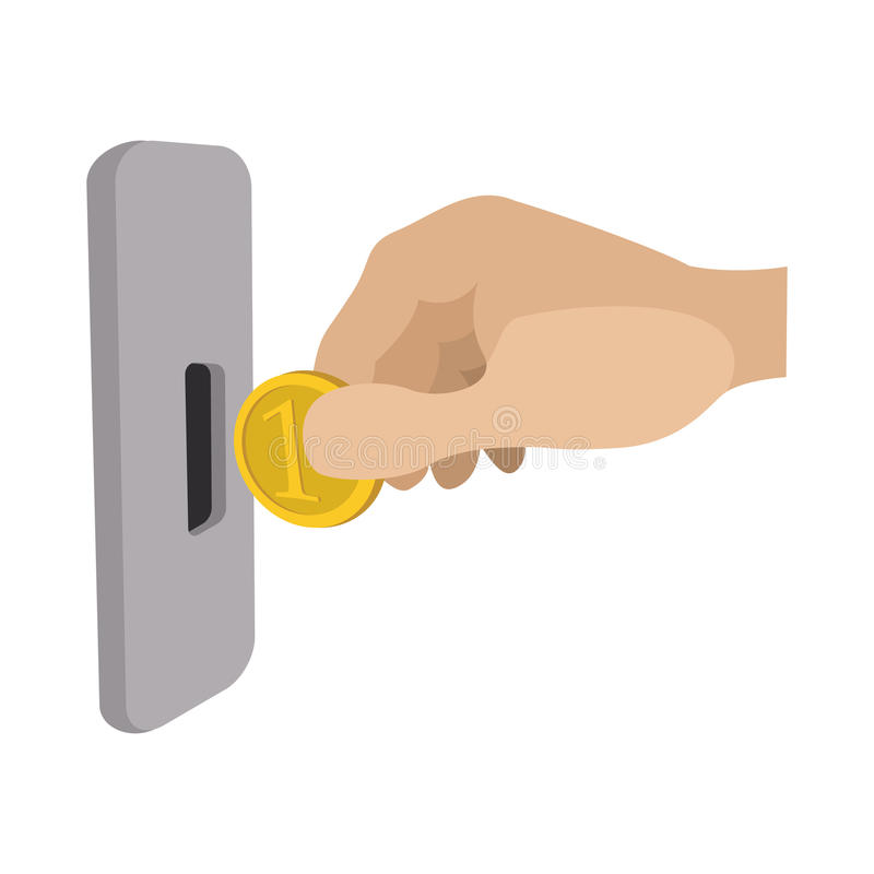 Human hand inserting coin in slot machine icon vector illustration