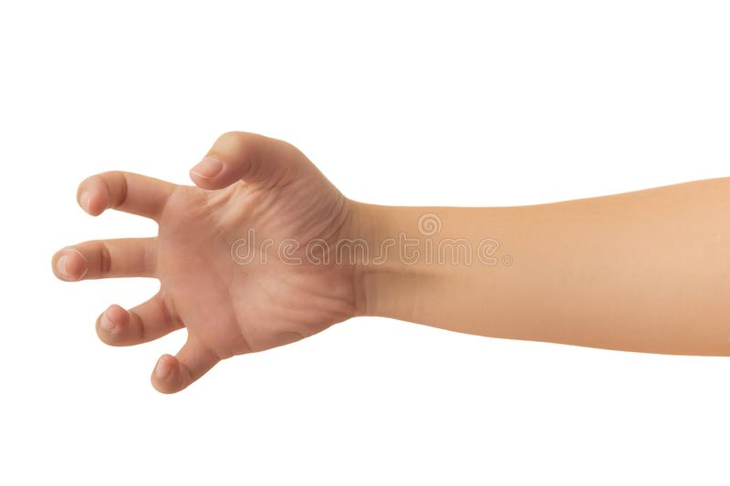 Human hand isolate on white background. Human hand in reach out one`s hand and showing 5 fingers gesture isolate on white background with clipping path, Low royalty free stock photo