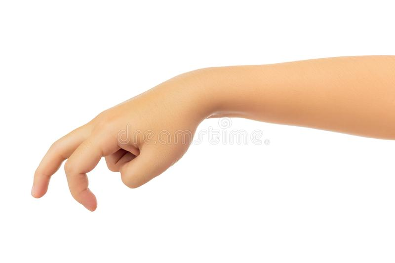 Human hand isolate on white background. Human hand in showing one`s hand in `walk` gesture isolate on white background with clipping path, High resolution and stock image