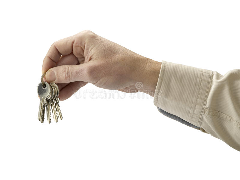 Download Human Hand And Key Isolated On White Background Stock Photo - Image: 23412898