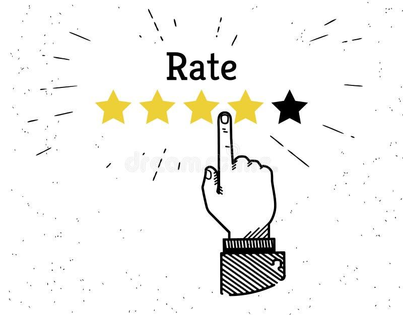 Human hand leaving five stars rating stock illustration