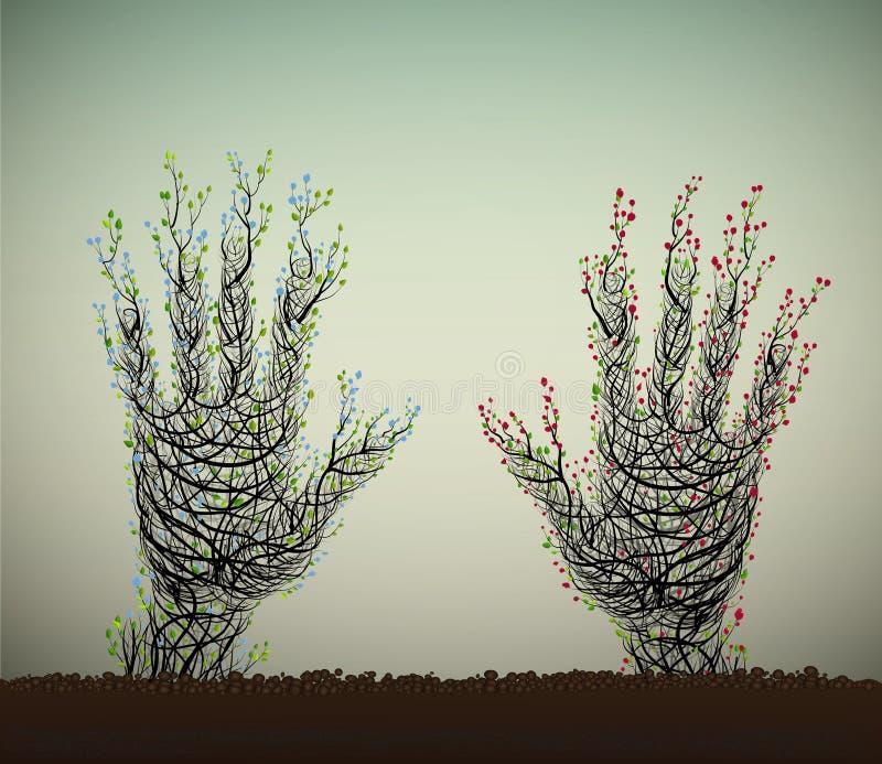 Human hand looks like tree vector illustration
