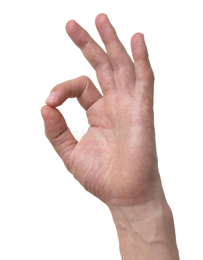 Download Human Hand Ok Sign Isolated With Clipping Path Stock Photo - Image: 24733132