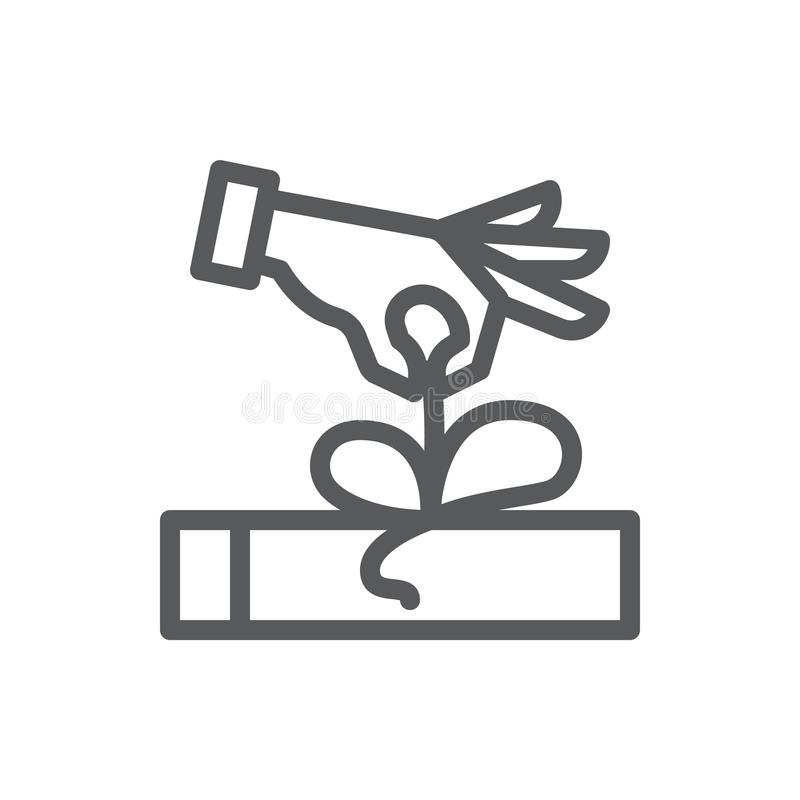 Human hand opening wrapped gift box thin line icon with editable stroke. royalty free illustration