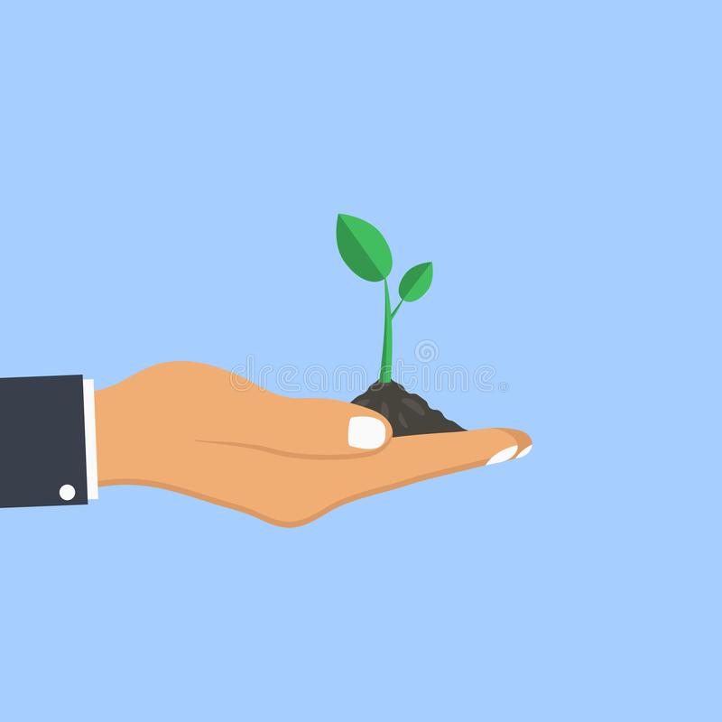 Human hand palm holds plant. Concept of planting sapling. Vector. royalty free illustration