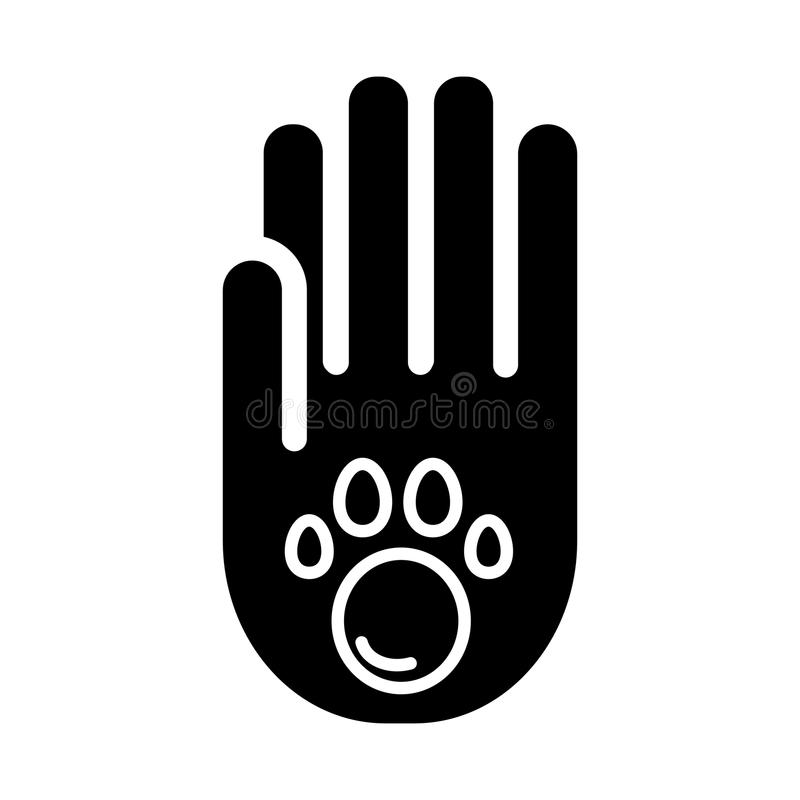 Human hand and paw inside simple vector icon. Black and white illustration of adopt pet. Solid linear icon. royalty free illustration
