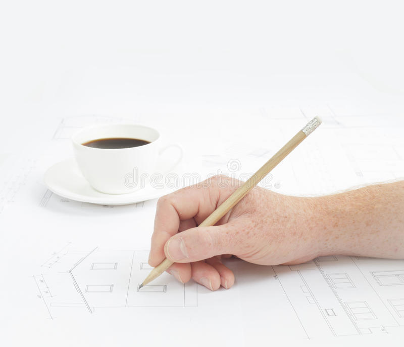 Download Human hand with pencil. stock photo. Image of line, contractor - 41756258