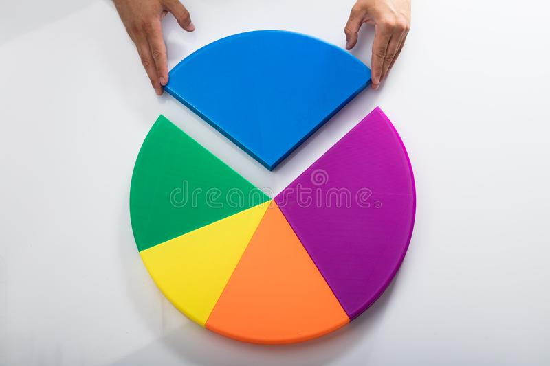 Human hand placing final piece into pie chart royalty free stock images