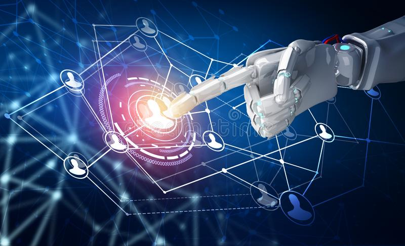 Human hand point in the center of social network icons. 3d rendering. Robot hand point in the center of social network icons. Over dark blue background. 3d stock illustration