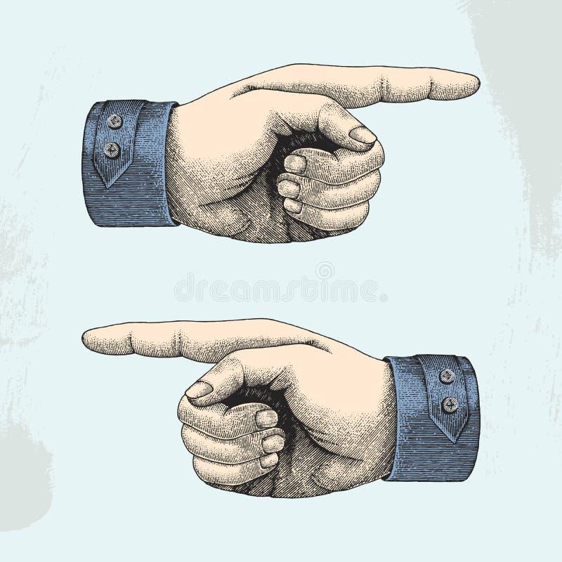 Human hand point sketch style vintage vector illustration