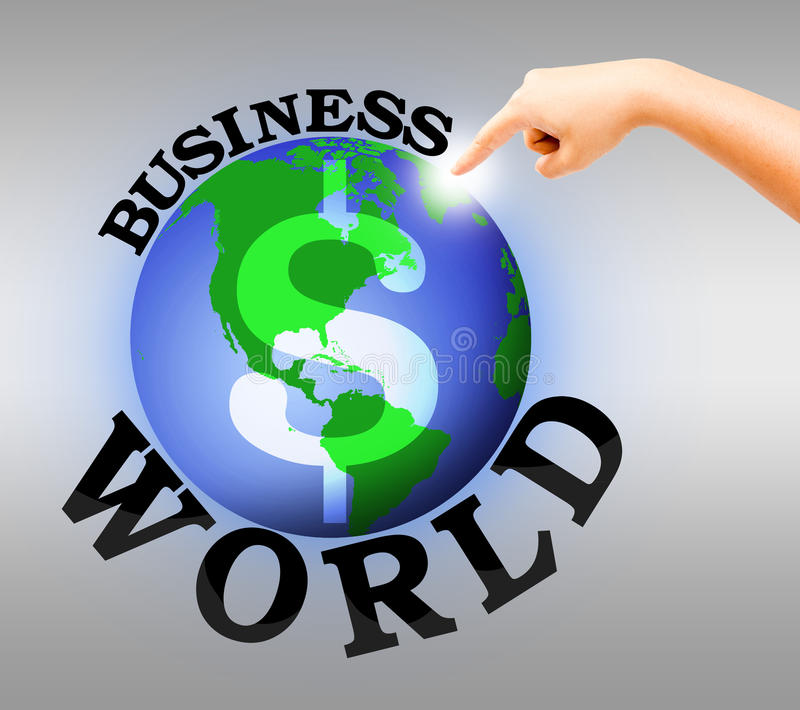 Human hand point to digital business world. Business wolrd concept royalty free illustration