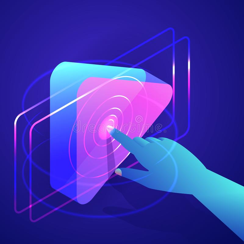 Human hand press play button. Video, music media player interface. Vector neon gradients 3d isometric illustration. Human hand press play button. Video, music vector illustration