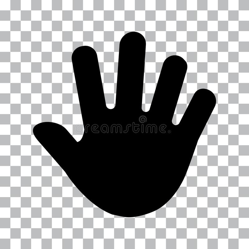 Human hand print, palm. Black silhouettes. Vector illustration stock illustration
