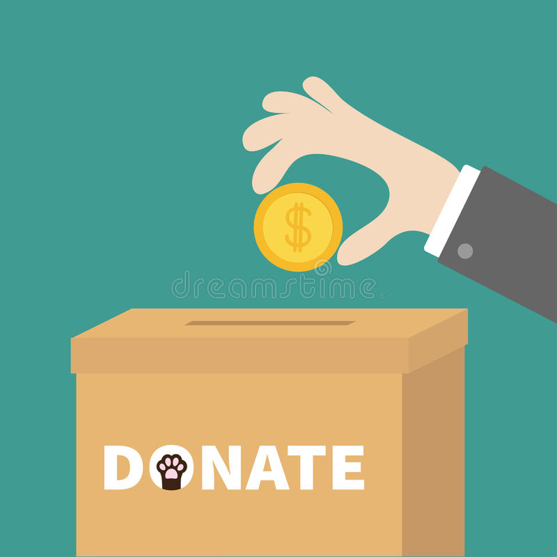 Human hand putting golden coin money with dollar sign into donation paper cardboard box. Helping hands concept. Donate and help stock illustration