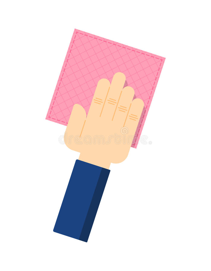 Human hand with rag isolated vector icon. Human hand with rag isolated icon in flat style. House cleaning tool, housework supplies vector illustration royalty free illustration
