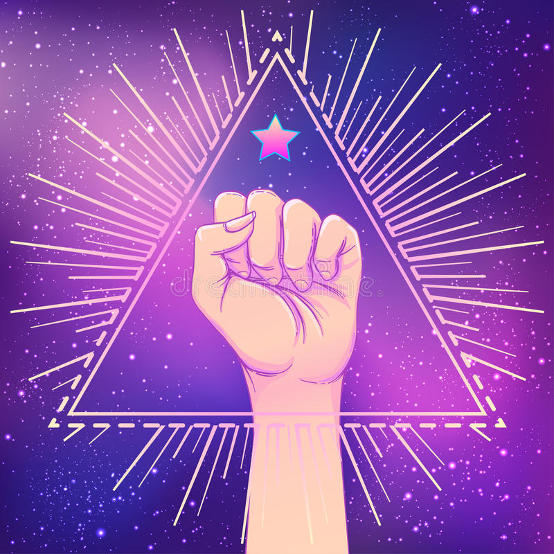 Human hand raised up over triangle shape with rays. Symbol of fighting, Revolution, protest, riot. Masonic sign. Fight like vector illustration