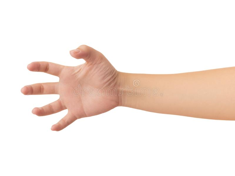 Human hand isolate on white background. Human hand in reach out one`s hand and showing 5 fingers gesture isolate on white background with clipping path, Low stock photo