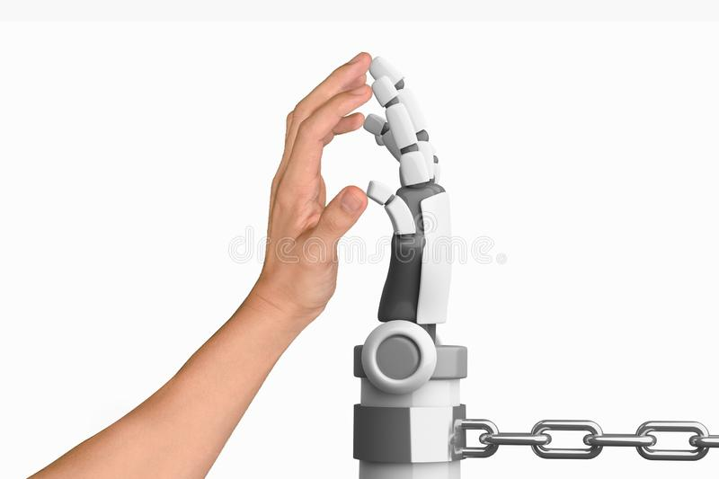 Human hand and robot hand in chain isolated on white background, artificial intelligence, AI, in futuristic technology concept. 3d stock illustration